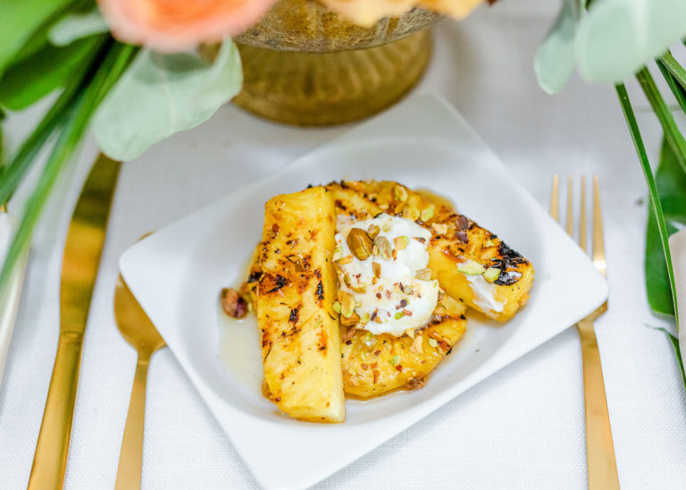 grilled pineapple on white plate