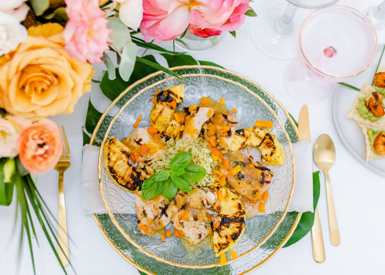 grilled chicken pineapple rice on clear plate