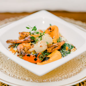 seafood florentine in white bowl