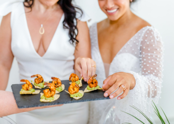 appetizers served on black slate