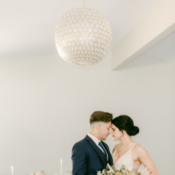 couple under the venue light at south haven creations venue