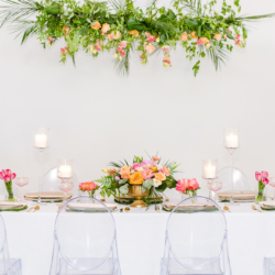 bright modern head table at south haven creations venue