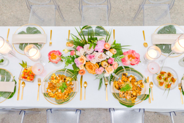 view from above table setting at south haven creations wedding venue