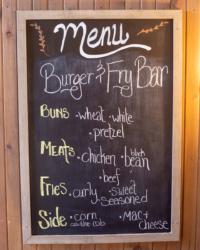 Catering menu burger and fry bar menu