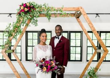 groom and bride at wedding venue