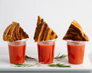 Food catering - tomato soup shooter with grilled cheese
