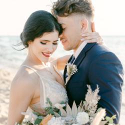 wedding couple on beach intimate