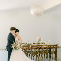 wedding couple next to head table